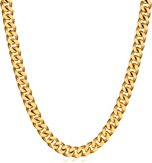 WINNICACA Italy Cuban Hip Hop Fake Gold Chains 24k Gold Plated Chain Link Necklaces20/22/24/26/28'',5/6/8mm Wide Cheap Fashion Jewelry Mens Gifts
