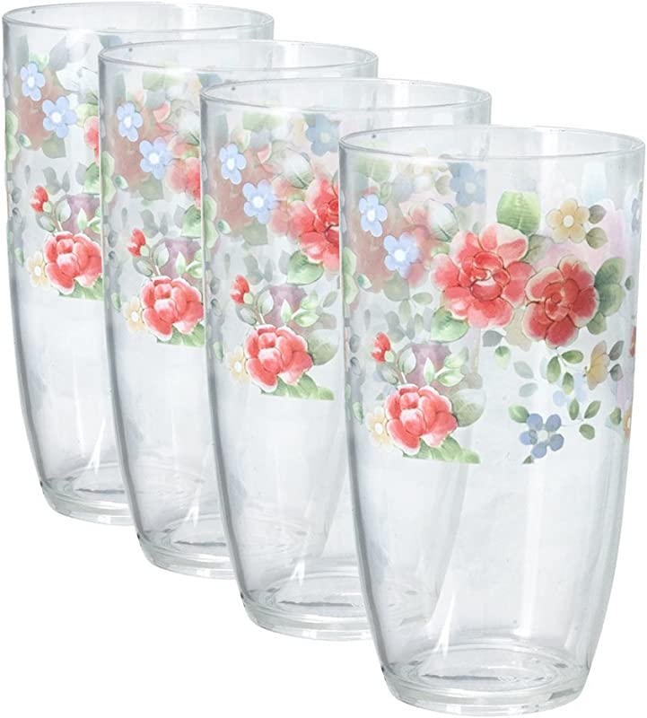 Pfaltzgraff Tea Rose Acrylic Tumblers Set Of 4