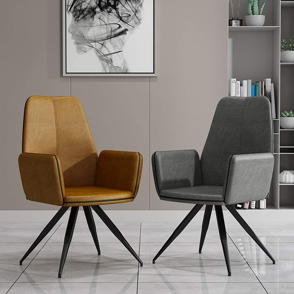 WDX- Chaise de Salle, Chaise de Bureau Simple, créative Dossier, Chaise Loisirs, Maison Adulte Chaise de Salle Confortable (Color : Brownish Yellow) Gray