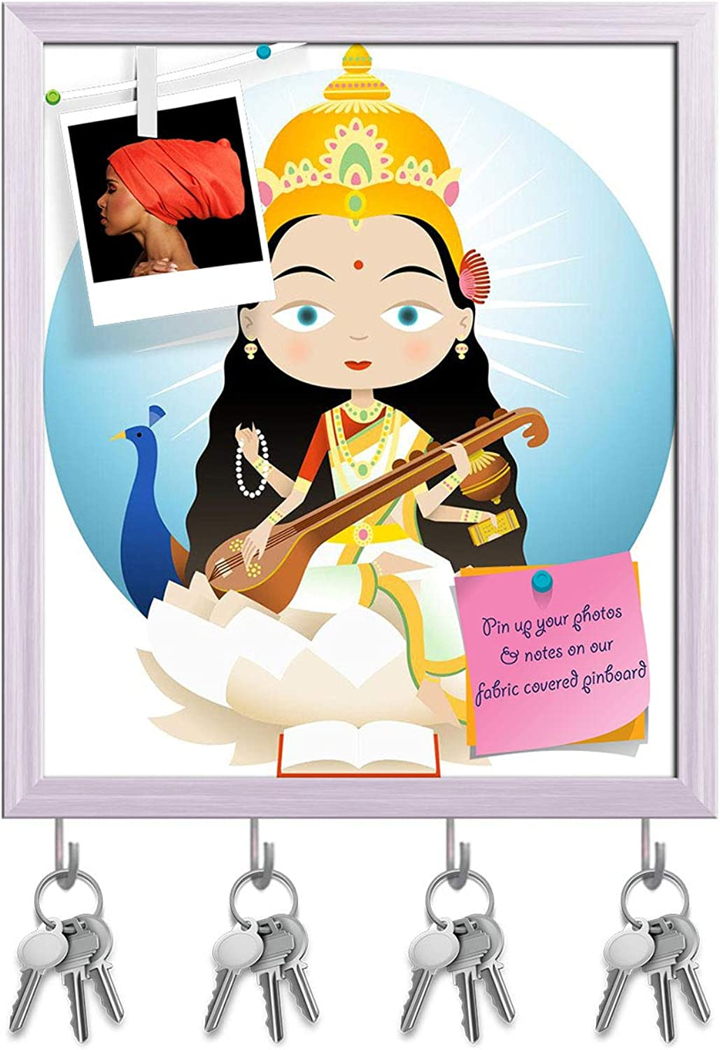 Artzfolio Hindu God Saraswati Key Holder Hooks   Notice Pin Board   White Frame 16 X 18.4Inch