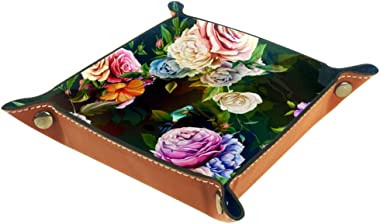Hummingbird Rose Floral Valet Tray Storage Organizer Box Coin Tray Key Tray Nightstand Desk Microfiber Leather Pouch,16x16cm