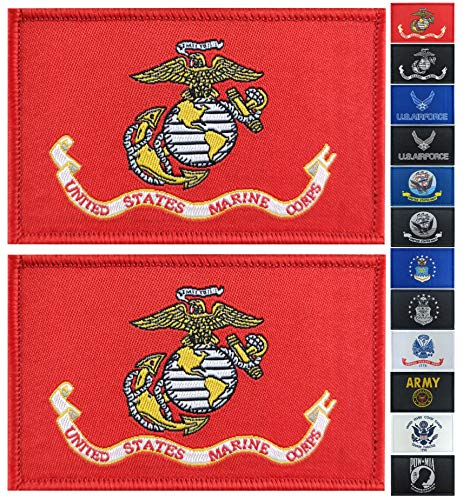 JBCD 2 Pack US Marine Corps Flag Patch Army Force Flags Tactical Patch Pride Flag Patch for Clothes Hat Patch Team Military Patch