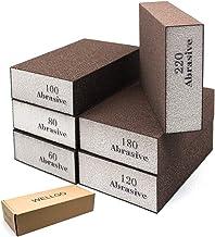 Wellgo 6 Pack Sanding Sponges,Coarse & Fine Sanding Blocks in 60/80/100/120/180/220 Grit Assortment- Great for Pot Brush P...