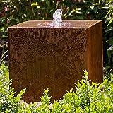 """Köhko Würfelbrunnen """"Peru"""" Höhe 49 cm Gartenbrunnen 31004 aus Cortenstahl mit LED-Beleuchtung"""