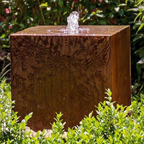 """Köhko® Würfelbrunnen """"Peru"""" Höhe 49 cm Gartenbrunnen 31004 aus Cortenstahl mit LED-Beleuchtung"""