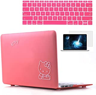 Rinbers Pink Hello Kitty Rubberized Hard Shell Cover Case Frosted Keyboard Skin Screen Film for New MacBook Pro 15 Retina with Touch Bar Touch ID A1707
