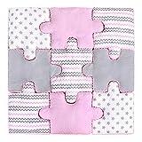 LULANDO Puzzle Kissen - 9-teiliges Set, weiche und praktische Puzzle Spielmatte Spielunterlage zum Toben und Spielen. Ideal für jedes Kinderzimmer. Farbe: Pink -