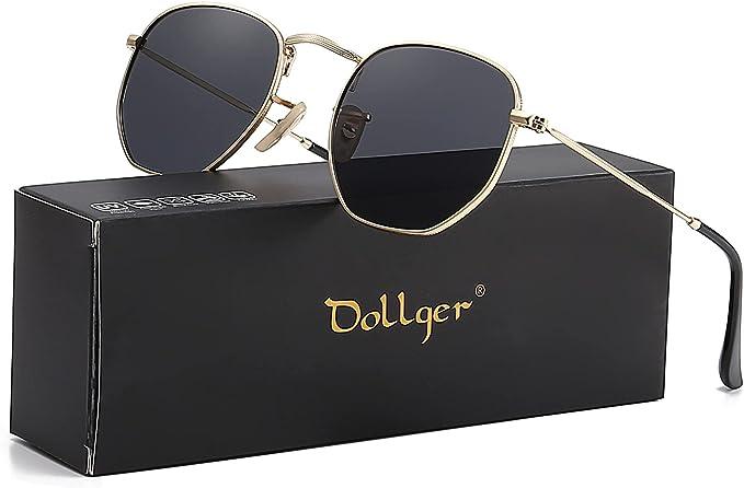 Dollger Hexagon Polarized Sunglasses for Women Trendy Metal Frame Small Square Sunglasses UV400 Vintage Retro Shades