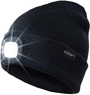 COTOP Unisex 4 LED Headlamp Beanie Cap, Winter Warm Beanie Hat Hands Free Lighted Beanie Cap with 3 Brightness Level for W...