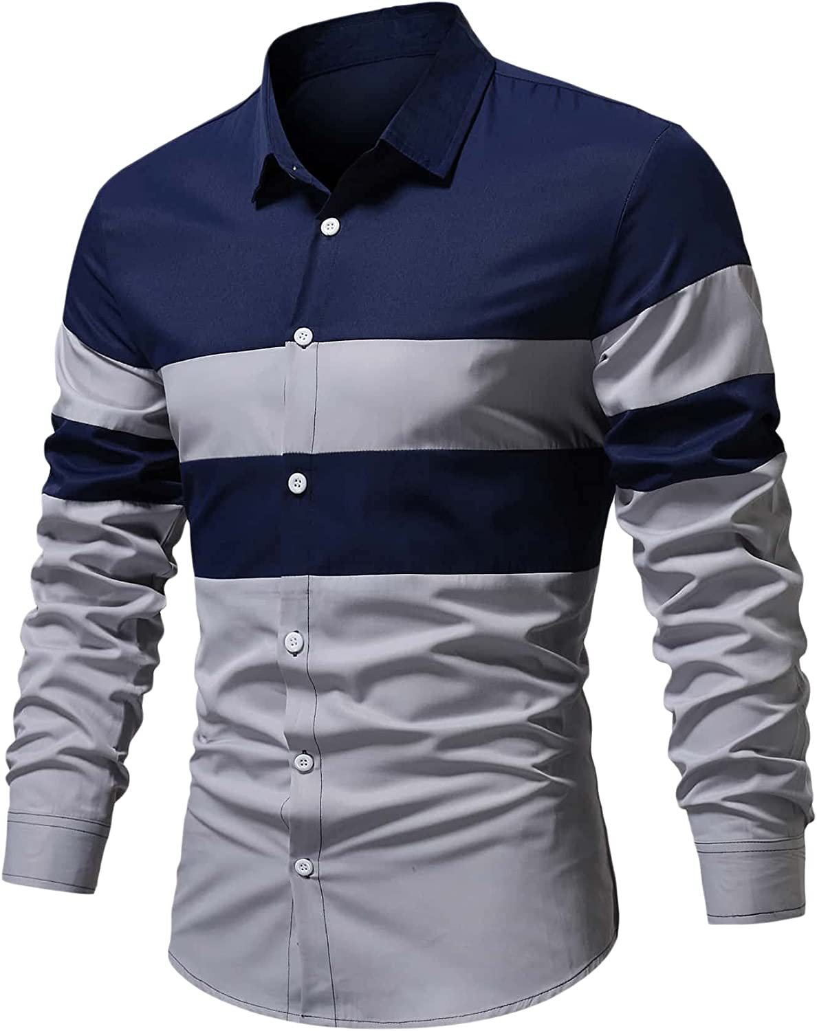 Milumia Men's Long Sleeve Polo Shirts Casual Slim Fit Contrast Color Stitching Cotton Shirts