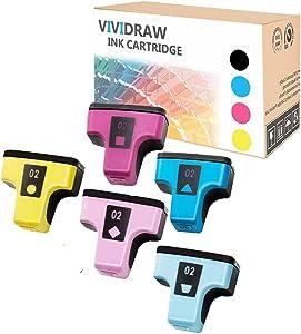 VIVIDRAW 5 Pieces of HP 02 Compatible Ink cartridges Replacement for HP Photosmart C5180 C7280 C6280 C6180 D7360 D7460 8250 C7200 Printer (Cyan, Magenta, Yellow, Light Cyan, Light Magenta