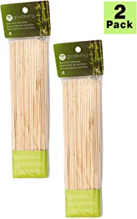 GOOD LIVING 10-inch Bamboo Skewers for Barbecues, Kabobs, Smores Marshmallows, Fruit, and Chocolate Fountains (100 Skewers) - 2 Pack