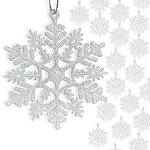 "BANBERRY DESIGNS Small White Snowflakes - 3"" Diam.Glittered Mini Snow Flake Ornaments - Bulk Pack of 192 pcs Shatterproof ..."