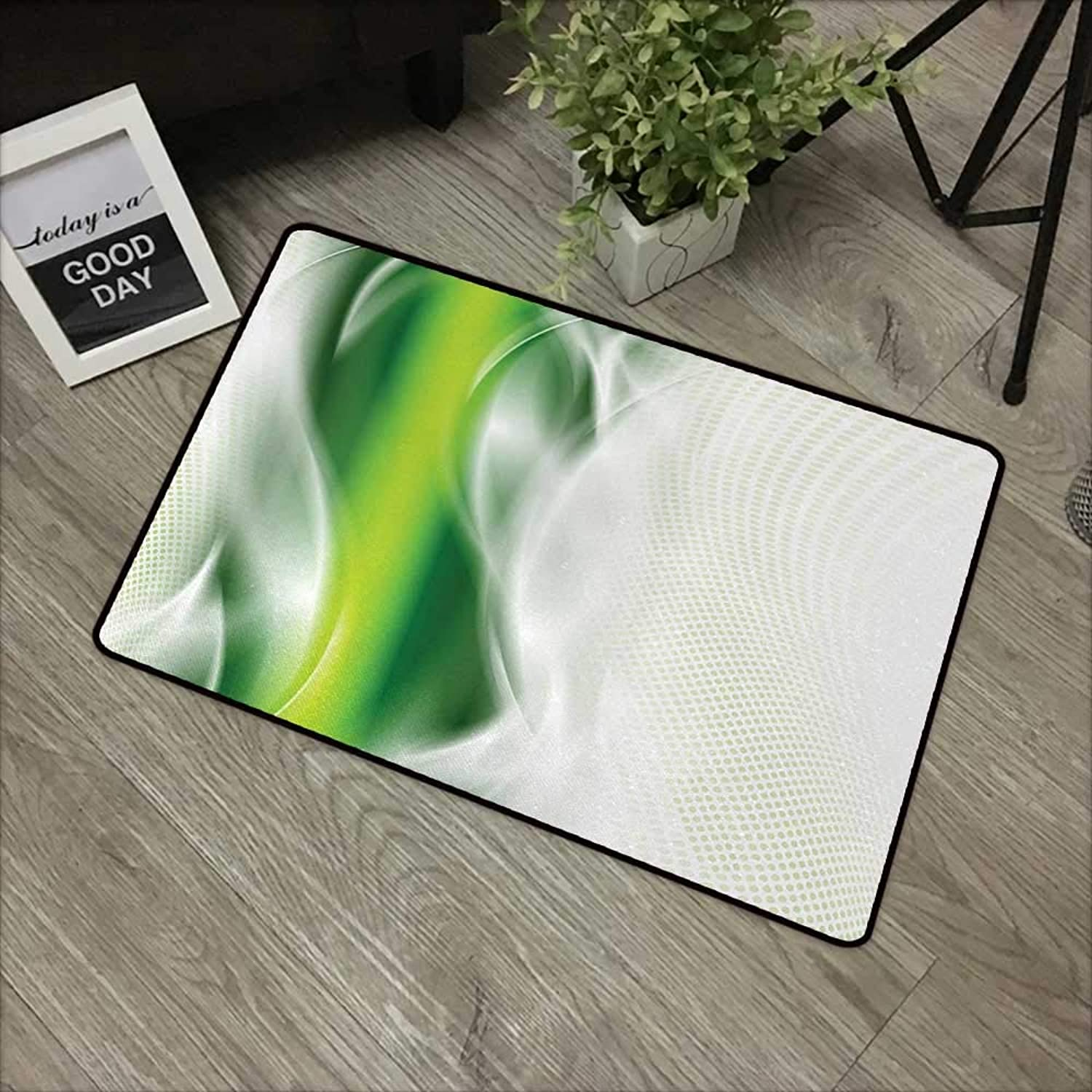 Bathroom door mat W35 x L59 INCH Abstract,Cool Floral like Green Strip with Wavy Detailed Design Image Print,White Green and Dark Green Easy to clean, no deformation, no fading Non-slip Door Mat Carpe