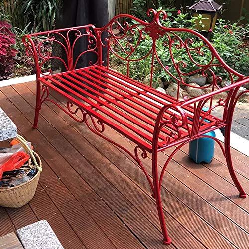 HOUSEHOLD Banco de Parque al Aire Libre Silla Doble de Hierro Forjado, Banco de terraza con apoyabrazos de Respaldo, sillón de decoración Familiar, para Porche/Parque/Patio