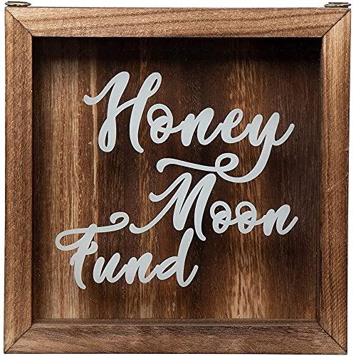 Genie Crafts Shadow Box Bank - Wooden Honeymoon Fund Shadow Box, Adult Piggy Bank, Money Saving Bank, for Travel Vacation Honeymoon Wedding Fund, Natural Wood, 7.1 x 7.1 x 1.8 Inches