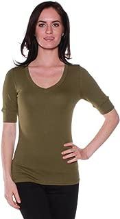 Women's Slim Athletic Fit Vneck Tshirt Half Sleeves Top