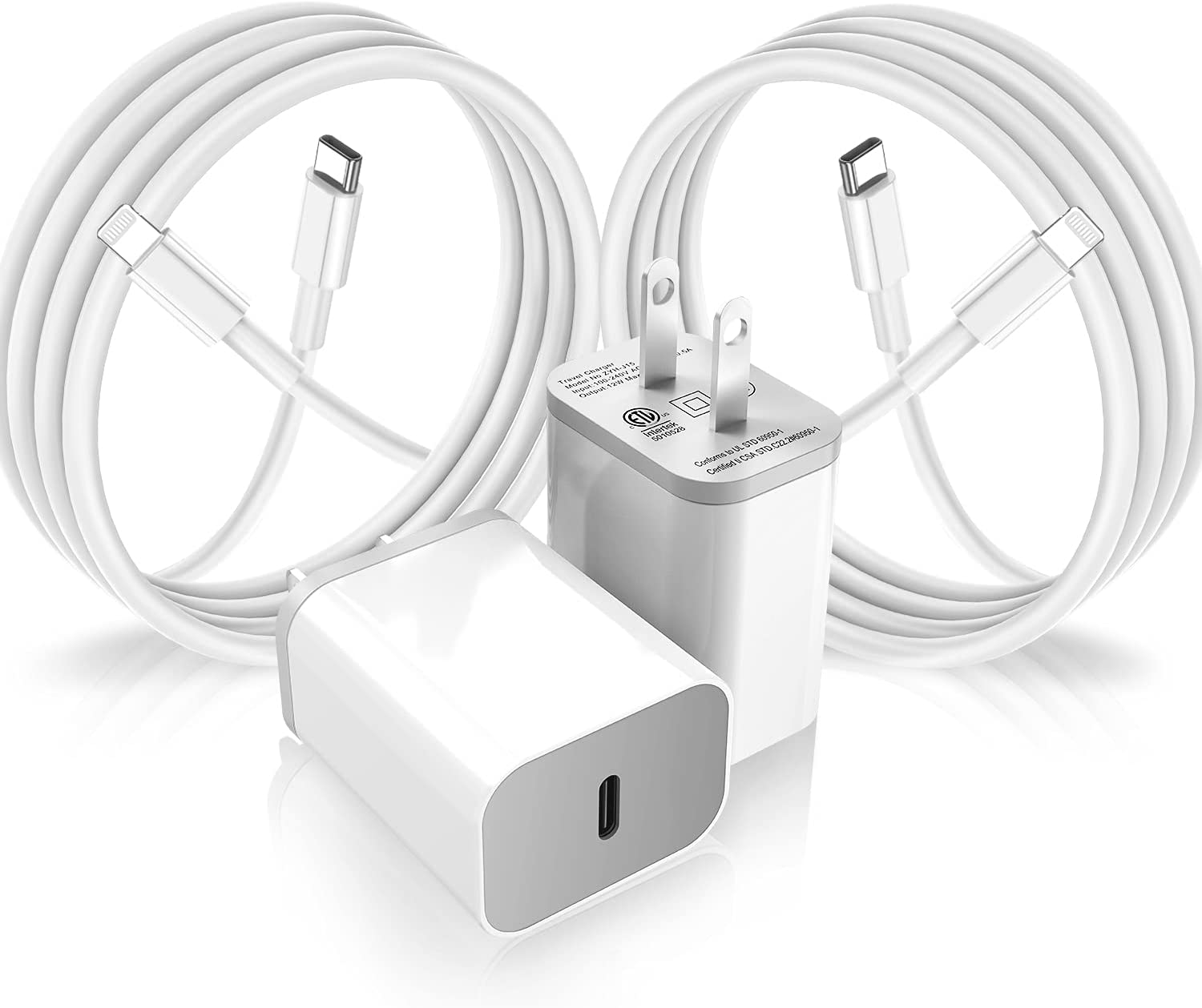 iPhone Fast Charger 2Pack,MFi Certified USB-C Wall Charger with 6Ft Type C to Lightning Cable for iPhone 12 11 Pro XR XS Max X 8 Plus iPad AirPods and More