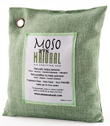 MOSO NATURAL Air Purifying Bag 500g. Bamboo Charcoal Air Freshener/Deodorizer/Odor Absorber For Home and Basement. Green Color