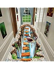 ERRU Löufer matta 3D Thriller Pattern gånglöpare mattor, halkfri och skärbar golvmatta för inomhus/utomhus/gästrum, 120 cm/100 cm bred (storlek: 0,8 × 6 m/2,6 × 19,7 fot)