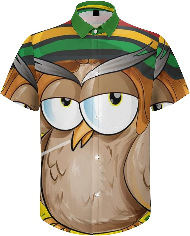 Men's Regular-Fit Short-Sleeve Printed Party Holiday Shirt Cartoon Owls Jamaican Flag