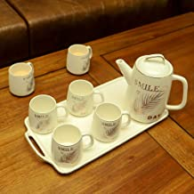 YATAI 8-Piece Ceramic Tea Coffee Set With Serving Tray Dish Porcelain Tea Cup Set – Teapot Set – Porcelain Tea Set 6 Coffe...
