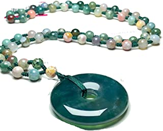 Yigedan Natural Indian Chalcedony Donut Pendant Hand Woven Necklace