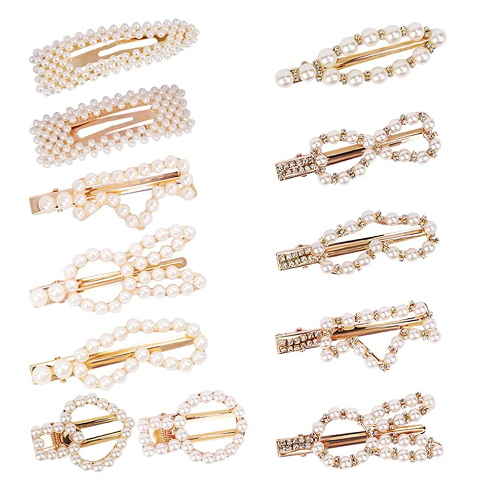 YISSION Pearl Hair Clips,Handmade Artificial Pearl Alligator Clips Hair Barrettes for Women Girls (12pcs)