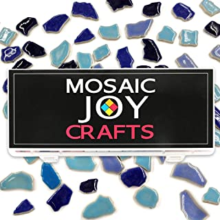 Mosaic Tiles Blue Mixed Colors 11oz Ceramic Mosaic Pieces Supplies for DIY Crafts Home Decoration Assorted Shape by Mosaic Joy (Blue Mixed)