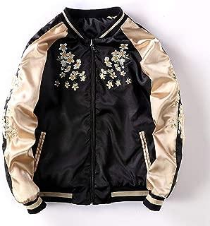 Crane Flower Embroidery Bomber Jacket Female Loose Basic Jackets Coat for Women,Black,M