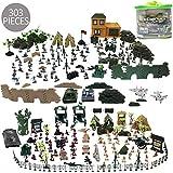 deAO 301 Set de Jeu Militaire avec Soldats, Figurines Militaires, Tanks, Avions, Drapeaux, Sac de Rangement et Accessoires de Bataille