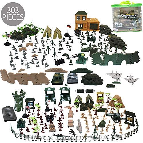deAO 303 Teiliges Militärspielset, mit Spielsoldaten, Militärischen Figuren, Panzern, Flugzeuge, Flaggen, Aufbewahrungstasche und Accessoires