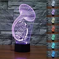 SUPERNIUDB Musical Instruments Saxophone Night Light Acrylic 3D LED USB 7 Color Change LED Table Lamp Xmas Toy Gift