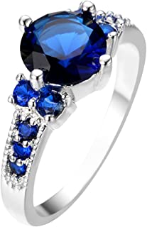 Diamond Fine Rings Blue & Raw White Natural Diamond 925 Sterling Silver Engagement Ring Size 7
