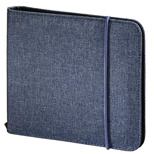 """Hama CD-Tasche \""""Up to Fashion\"""" (Mappe zur Aufbewahrung von 24 CDs/DVDs/Blue-rays, antistatische Einschub-Hüllen) blau"""