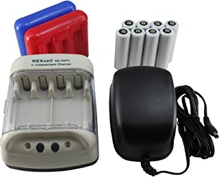 NEXcell Battery Charger with 8 Rechargeable AA Batteries and 2 Plastic AA/AAA Cases