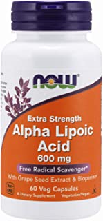 NOW Supplements, Alpha Lipoic Acid 600 mg with Grape Seed Extract & Bioperine, Extra Strength, 60 Veg Capsules