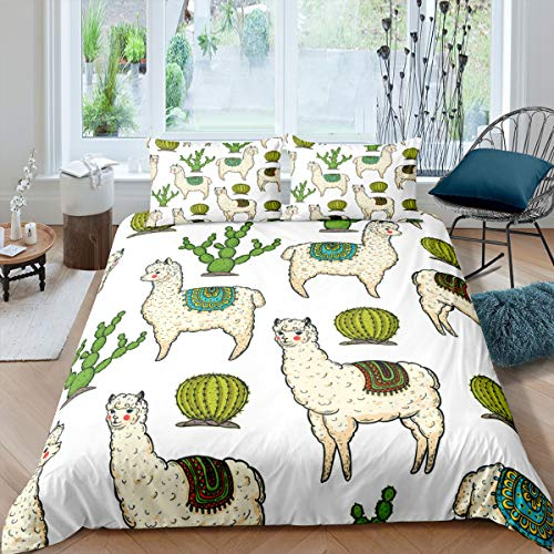 Llama Duvet Cover Cartoon Alpaca Cactus Print Bedding Set for Kids Boys Girls Boho Succulents Comforter Cover 3D Animal Pattern Bedspread Cover Decor Bedroom Collection 3Pcs Double Size