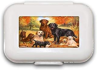 Sunok Dog Pill Box Pill Case Pill Organizer Decoratieve Dozen Pill Box voor Pocket of Purse - 8 Compartiment Pill Box/Pill...