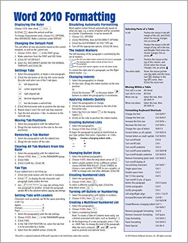 Microsoft Word 2010 Formatting Quick Reference Guide (Cheat Sheet of Instructions, Tips & Shortcuts - Laminated Card)