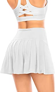 Women's Pleated Tennis Skirt with Shorts Pockets Athletic Golf Skort Activewear Sport Workout Running Skirt