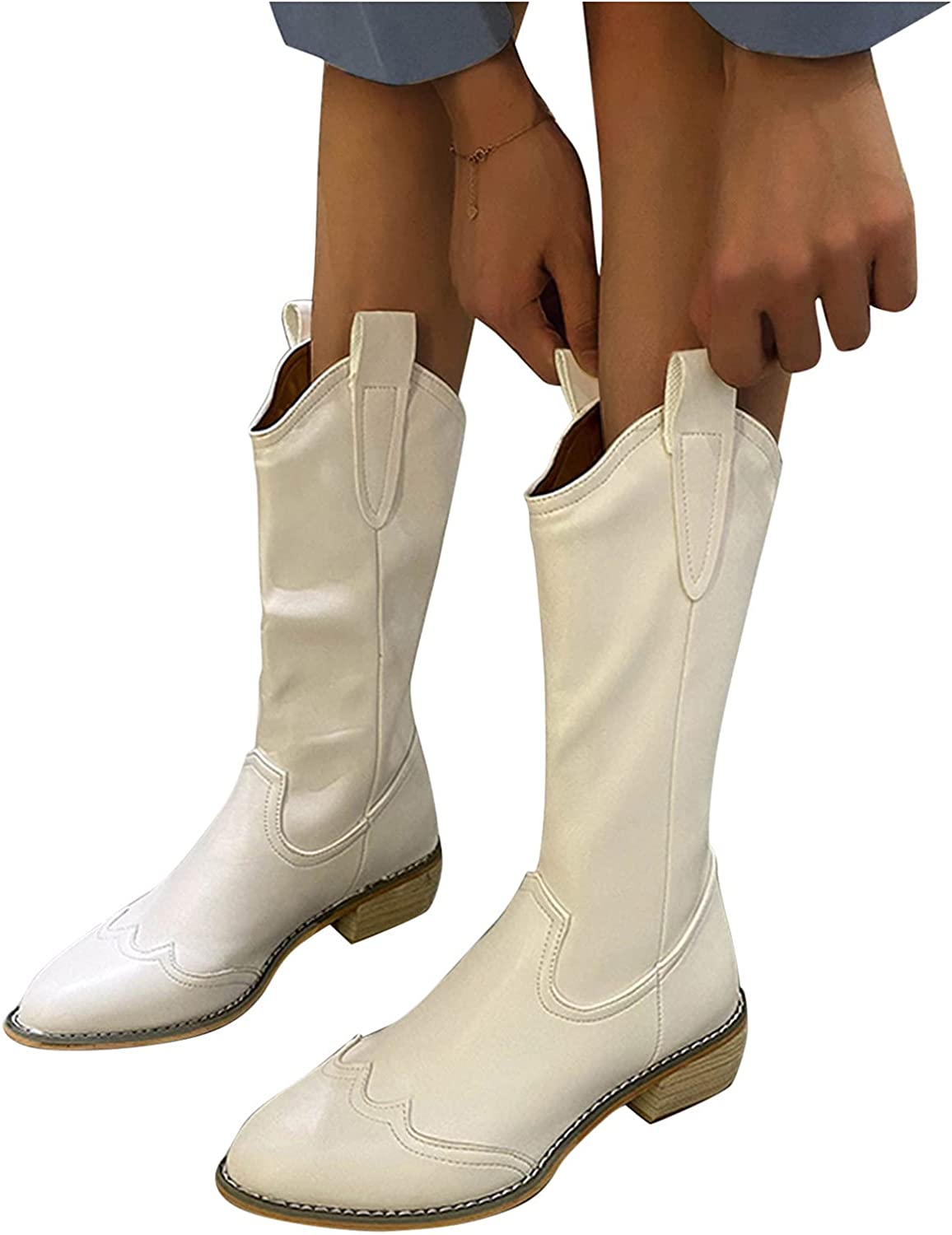 Aniywn Womens Point Toe Western Cowboy Boots Mid Calf Low Heel Wide Width Comfort Wide Calf Boot with Pull-Up Tabs