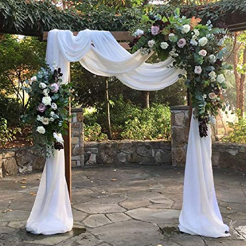 White Wedding Arch Drapes Fabric 3 Panels 6 Yards Sheer Backdrop Curtains for Party Ceremony Arch Stage Decorations