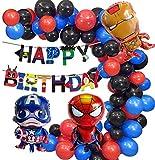 Kit de arco de globo para fiesta de cumpleaños con temática de superhéroes color rojo negro y azul incluye una pancarta de feliz cumpleaños perfecta para decoraciones de fiesta de cumpleaños de niños