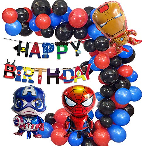 caicainiu Superhero Theme Birthday Party Balloon Arch Kit Red Black Blue Balloon Garland Arch Kit Includes Happy Birthday Banner Perfect for Kids Birthday Party Decorations
