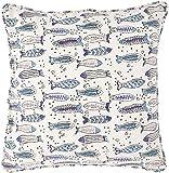 Guru-Shop Kissenbezug Blockdruck, Kissenhülle mit Fischen, Dekokissen Bezug mit Traditionellem...