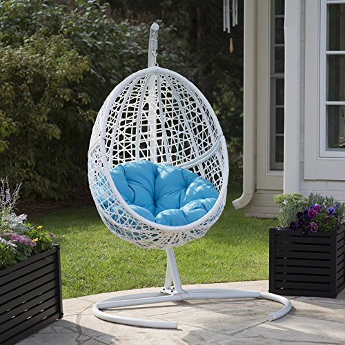 White Resin Wicker Hanging Egg Chair