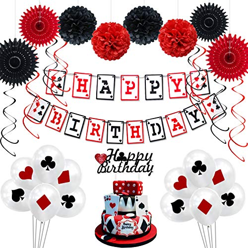 Casino Birthday Party Decorations Supplies Kit by KeaParty, Casino Theme Party Decorations, Happy Birthday Banner, Casino Balloons and Cake Topper, Paper Fans, Pom Poms, Swirls for Las Vegas Party Decorations