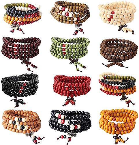 YADOCA 12 Stück Armbänder Elastisch Herren Damen Buddha Mala Halskette Holz Armbänder Perlen Unisex 8mm Armbänder Set