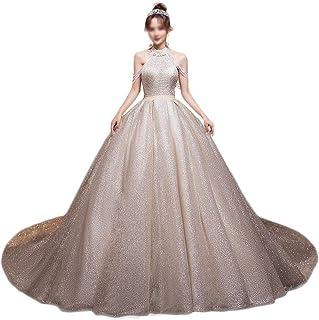HXiaDyG Vestido de novia de lujo para novia con cola elegante de superhada, cielo estrellado único, para bodas (color foto...